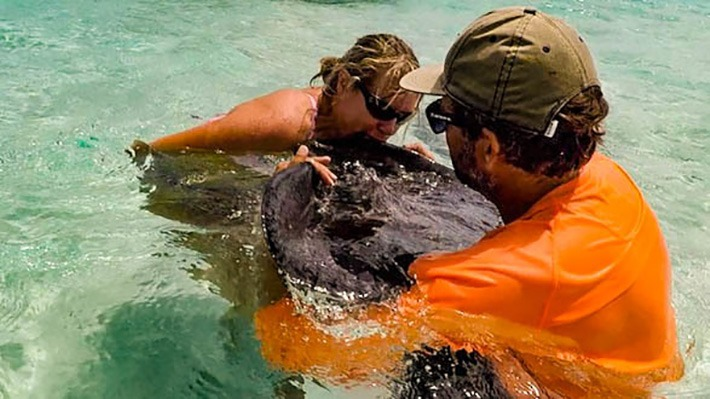Dede Kissing Ray in Stingray City Grand Cayman - Crazy Crab